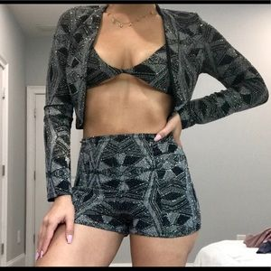 Sparkly jacket, top, and shorts